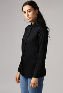 Black French Cuff Tailored Shirt Side