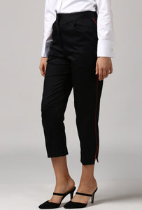 Black pants With Red Piping Detail Side