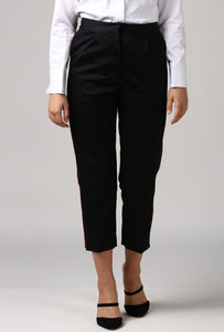Black pants With Red Piping Detail Style