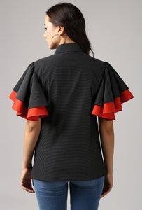 Black Piping Detailed Double Frill Sleeve Top Back