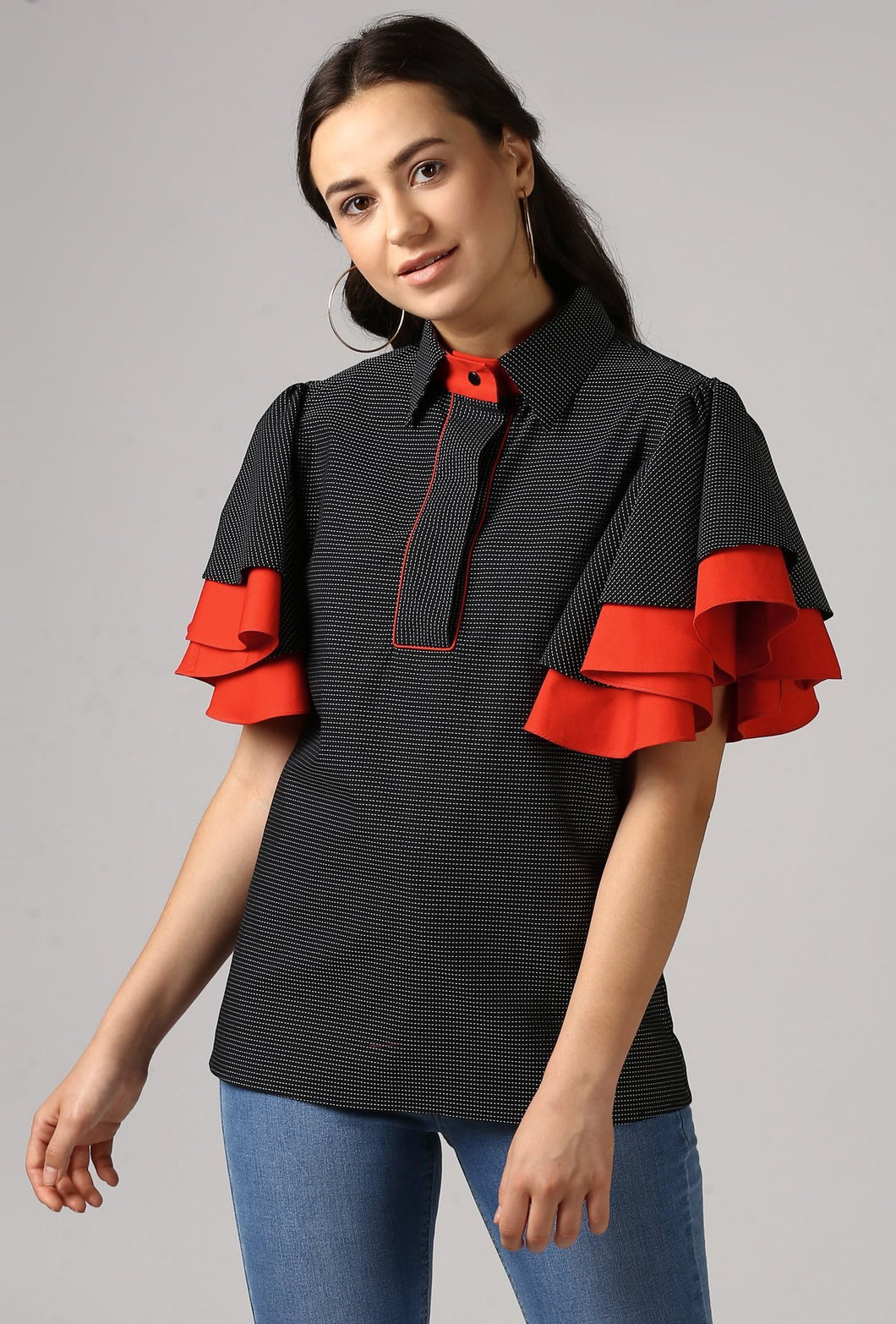 Black Piping Detailed Double Frill Sleeve Top Crop