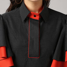 Load image into Gallery viewer, Black Piping Detailed Double Frill Sleeve Top Detail