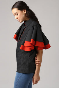 Black Piping Detailed Double Frill Sleeve Top Side