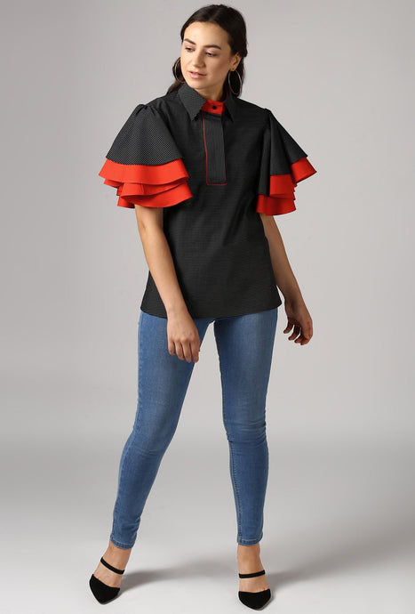 Black Piping Detailed Double Frill Sleeve Top Style