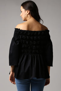 Black Textured Off Shoulder Top Back