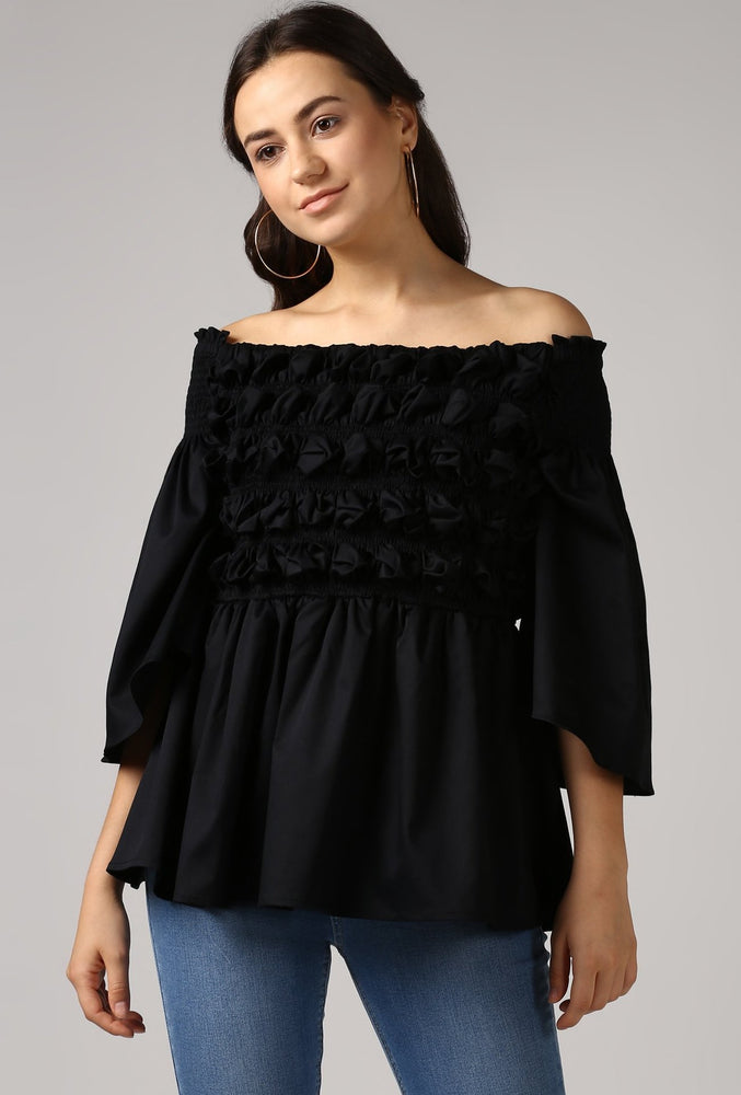 Black Textured Off Shoulder Top Crop