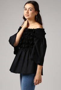 Black Textured Off Shoulder Top Side