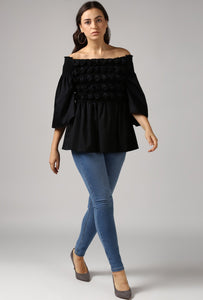 Black Textured Off Shoulder Top Style