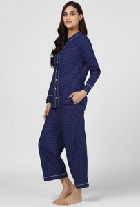Blue Printed Pajama Party Night Suit