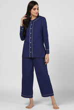 Load image into Gallery viewer, Blue Printed Pajama Party Night Suit