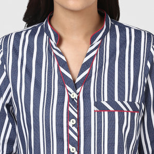 Blue Stripe Pajama Party Night Suit