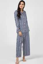 Load image into Gallery viewer, Blue Stripe Pajama Party Night Suit