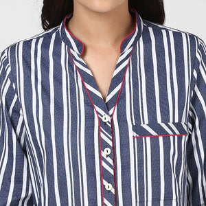 Blue Stripe Play Up Night Suit