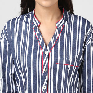 Blue Stripe Printed Night Shirt