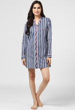 Load image into Gallery viewer, Blue Stripe Printed Night Shirt