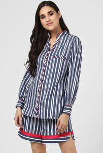 Blue Stripe Snuggle Up Night Suit