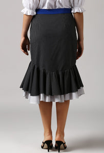 Contrast Belt Black Dobby Frilled Pencil Skirt Back