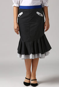 Contrast Belt Black Dobby Frilled Pencil Skirt Crop