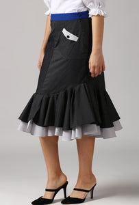 Contrast Belt Black Dobby Frilled Pencil Skirt Side