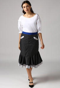 Contrast Belt Black Dobby Frilled Pencil Skirt Style