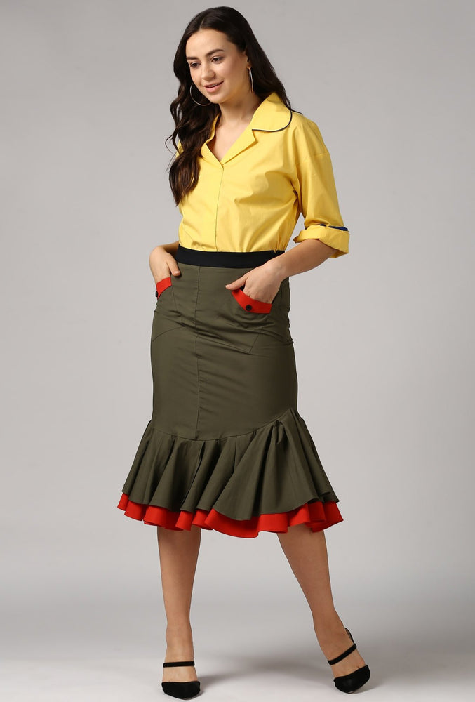 Contrast Belt Dark Olive Frilled Pencil Skirt Style