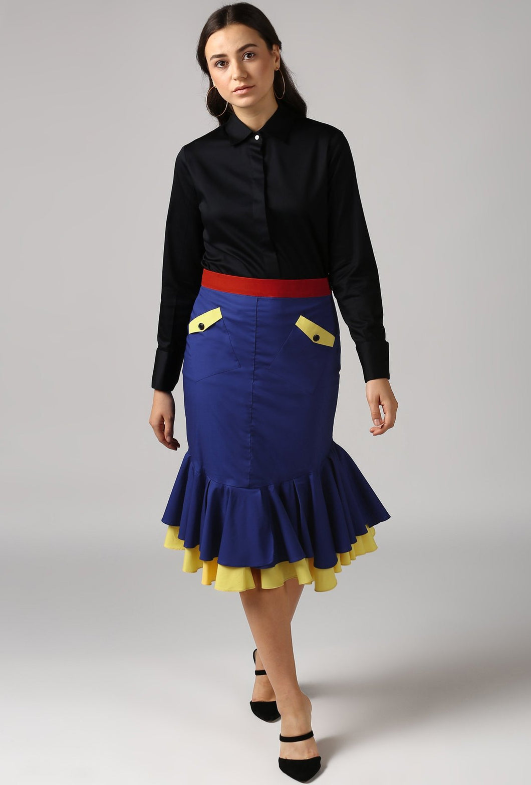 Contrast Belt Sapphire Blue Frilled Pencil Skirt Style