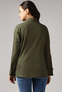 Dark Olive French Cuff Tailored Shirt Back