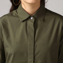 Load image into Gallery viewer, Dark Olive French Cuff Tailored Shirt Detail