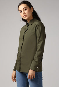 Dark Olive French Cuff Tailored Shirt Side