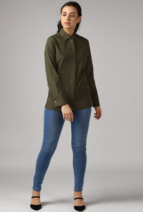 Dark Olive French Cuff Tailored Shirt Style