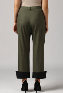 Dark Olive Pants With Cuffed Hem Back