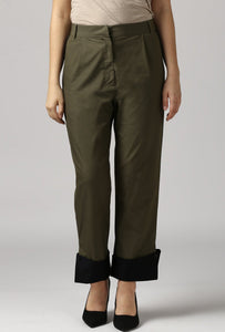 Dark Olive Pants With Cuffed Hem Crop