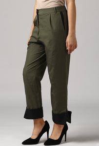 Dark Olive Pants With Cuffed Hem Side