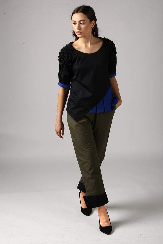 Dark Olive Pants With Cuffed Hem Style