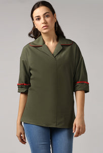 Dark Olive Rolled Sleeve V Neck Piping Lapel Collar Top