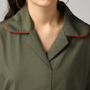 Dark Olive Rolled Sleeve V Neck Piping Lapel Collar Top Detail