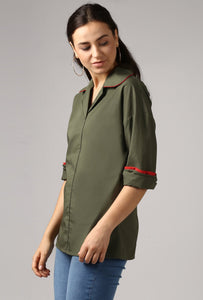 Dark Olive Rolled Sleeve V Neck Piping Lapel Collar Top Side