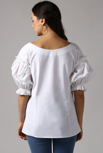 Ivory Boat Neck Gathered Frill Sleeve Top Back