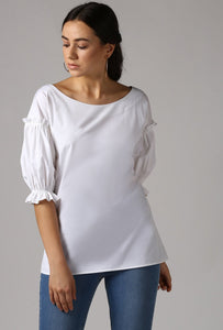 Ivory Boat Neck Gathered Frill Sleeve Top Crop