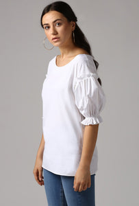 Ivory Boat Neck Gathered Frill Sleeve Top Side