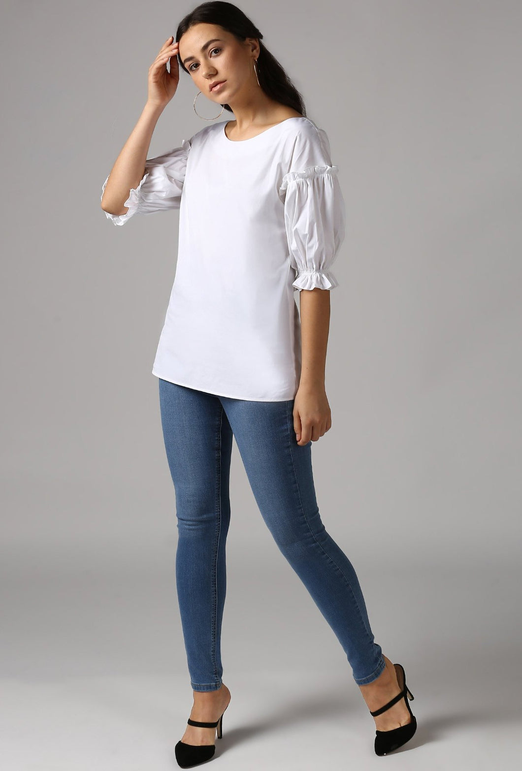 Ivory Boat Neck Gathered Frill Sleeve Top Style