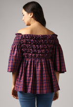 Load image into Gallery viewer, Magenta Check Textured Off Shoulder Top Back