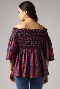 Magenta Check Textured Off Shoulder Top Back