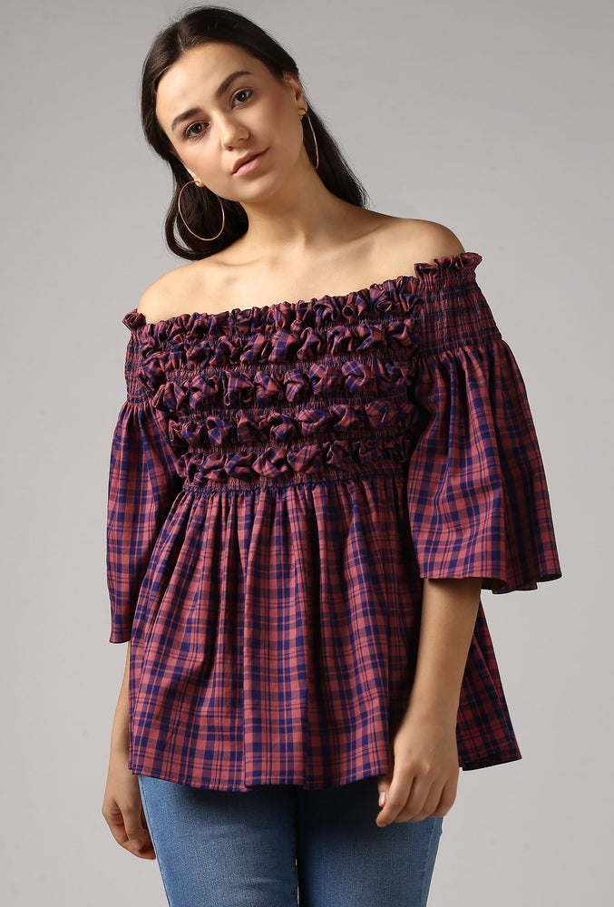 Magenta Check Textured Off Shoulder Top Crop