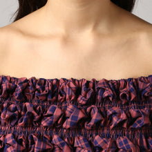 Load image into Gallery viewer, Magenta Check Textured Off Shoulder Top Detail
