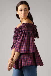 Magenta Check Textured Off Shoulder Top Side