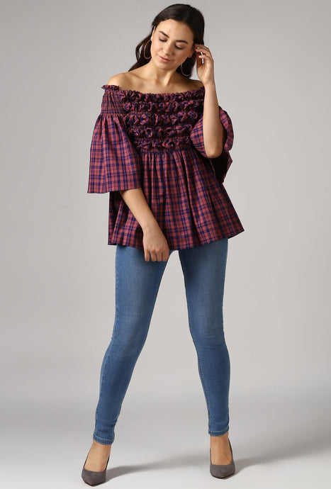 Magenta Check Textured Off Shoulder Top Style