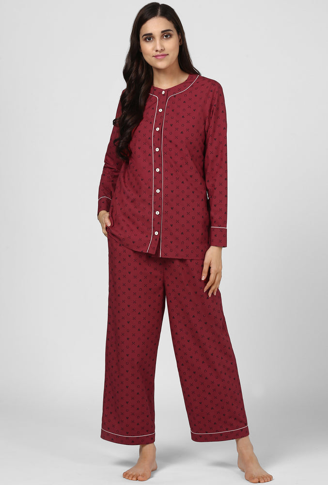 Maroon Riding High Printed  Night Suit