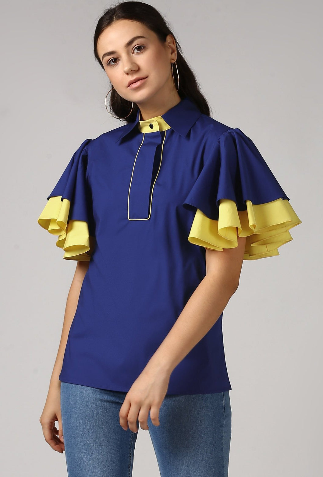 Blue Piping Detailed Double Frill Sleeve Top Crop
