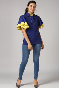 Blue Piping Detailed Double Frill Sleeve Top Style